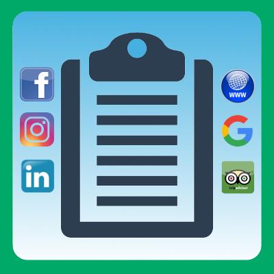 Listino gestione e pubblicità, Facebook, Instagram, Linkedin, Google, Tripadvisor, sito