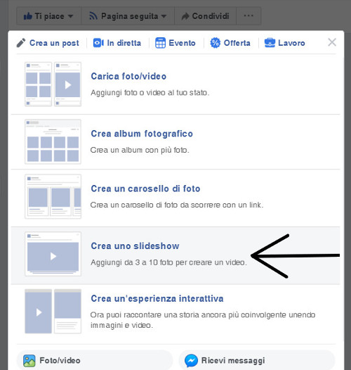 Dove cliccare per creare slideshow Facebook