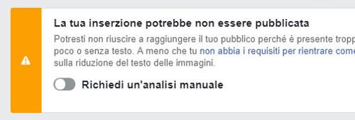 La tua inserzione potrebbe non essere pubblicata-Facebook