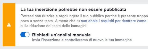 Richiedi un'analisi manuale-Facebook